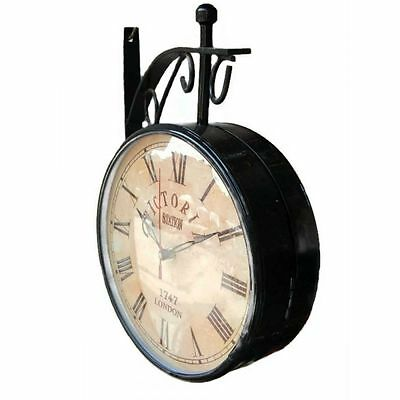 Black Iron Vintage-Inspired Round Double-Sided Wall Hanging ClockHandcrafted