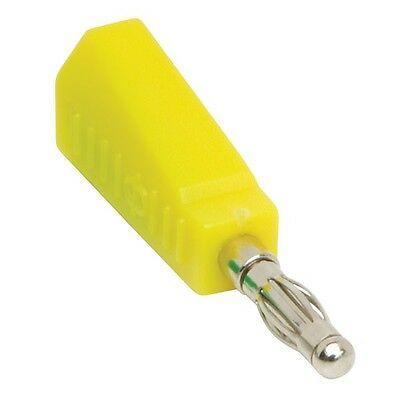 3x 4mm Banana Stackable Test Plug Yellow Inter-connecting Insulated Cable End