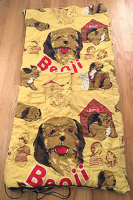 """Vintage 1975 BENJI Mulberry Square Productions Sleeping Bag Yellow 62"""" x 30"""""""