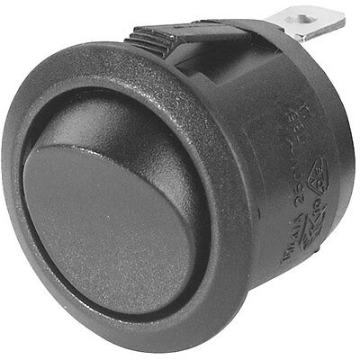 Switch Round Rocker, On-Off-On 250V AC 6A All Black Circular