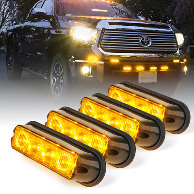4pc Super High Intensity 4 LED Side Marker Grille Strobe warning Flash - Amber