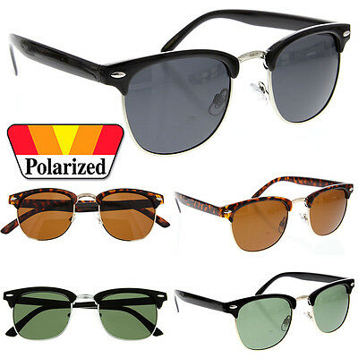Polarized Clubmaster Sunglasses Men's Women's Half Frame Vintage Designer Metal