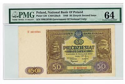 1946 Poland 50 Zlotych Certified banknote PMG 64 CUNC Choice Uncirculated