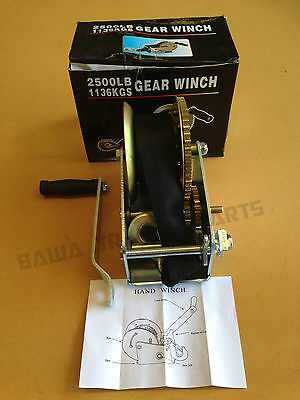 Strap Gear Winch 2500Lbs/1136Kg! Hand Winch! Perfect For Boat,trailer Or 4Wd