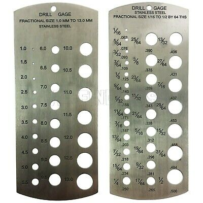 "Set 2 Stainless Steel Drill Gauges metric & Imperial gauge 1/16 -1/2"" & 1-13mm"