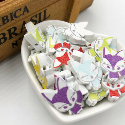 New 20/50/100pcs Colorful Baby Fox Wood Buttons 17*23mm Sewing Craft Mix WB301