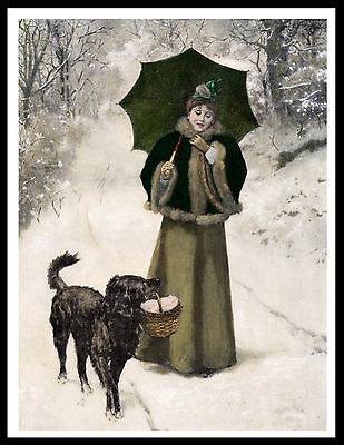 Flat Coated Retriever Lady And Dog Snow Scene Lovely Vintage Style Print Poster