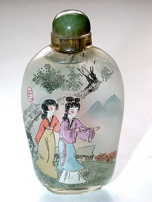 Beautiful Antique Chinese Artist Signed Reverse Painted Snuff Bottle