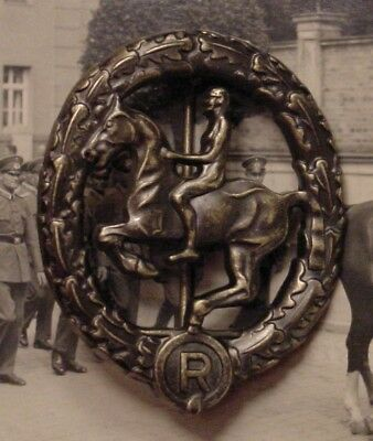 German Wwii  Wehrmacht Cavalry - Equestrian / Horsemanship Badge In Bronze