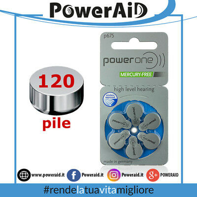 120 pile Power One P 675 - PR44 (BLU) -MERCURY FREE - protesi acustiche Batterie
