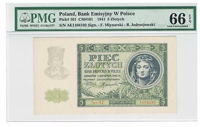 1941 Poland 5 Zlotych Certified banknote PMG 66 GEM UNC EPQ Uncirculated