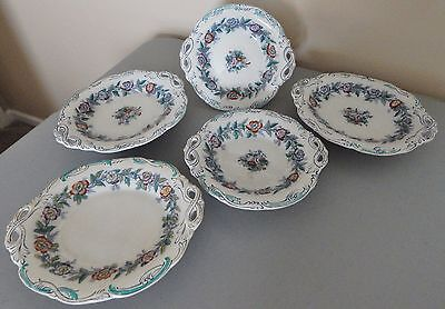5 Antique 1850's Ironstone Serving Dishes Footed Base Diamond Mark