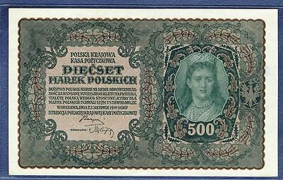1919 Poland 500 Zlotych UNC Uncirculated banknote