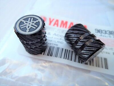 ORIGINAL Yamaha Tyre Wheel Dust Valve Caps Tuning Fork BLACK ** UK STOCK **
