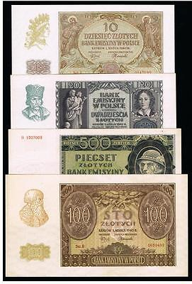 1940 Poland Set of 4 banknotes 10 20 100 500 Zlotych UNC Uncirculated