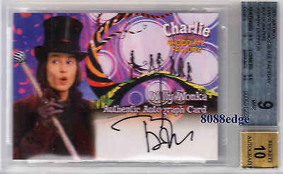 2005 Charlie The Chocolate Factory Auto: Johnny Depp - Autograph Card Jsa/bgs 9