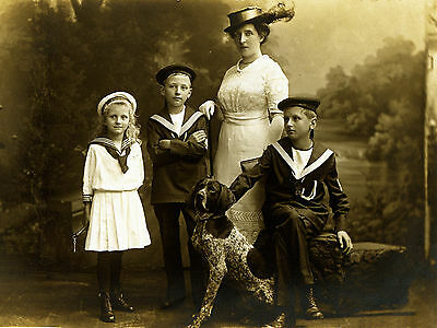 German Shorthaired Pointer Mother Children Period Dog Photo Print Ready To Frame