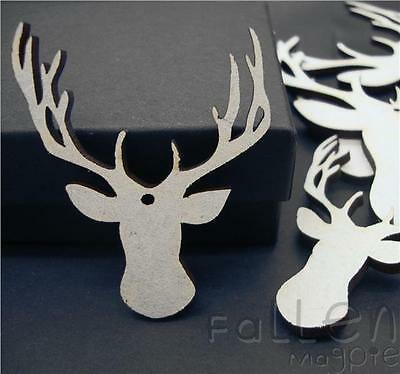 Wooden Reindeer Head Shapes Embellishments Craft MDF Wood Tags Blanks 50mm 100mm
