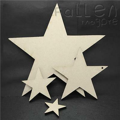 Wooden Star Shapes Embellishments Craft MDF Wood Hole Tags Blanks