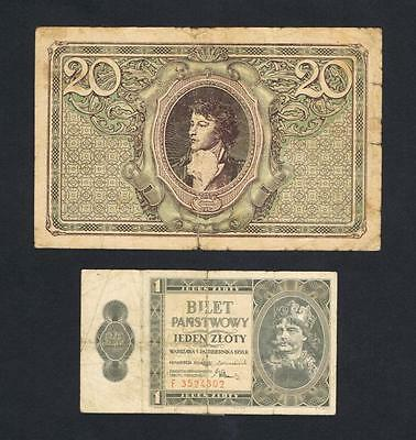 1919 - 1938 Poland, 20 Mark (Series K with comma) + 1 Zloty (Series F) banknotes