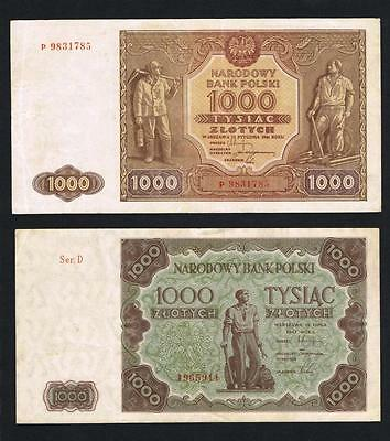 1946 - 1947 Poland, 1000  + 1000 Zlotych banknotes