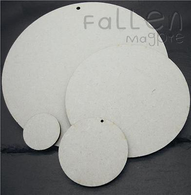 Wooden Round Circle Shapes Embellishments Craft MDF Hole Tags Blanks