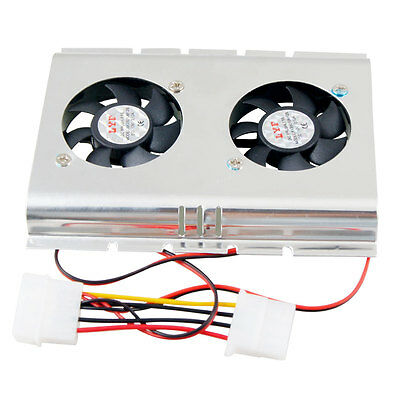 "Computer PC HDD Dual Fan 3.5"" Hard Drive Cooler Cool Silver Tone Black"
