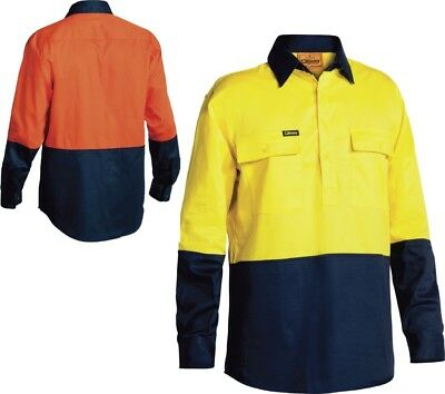 Bisley Workwear 2 Tone Closed Front Hi Vis Drill Shirt - Long Sleeve (Bsc6267)