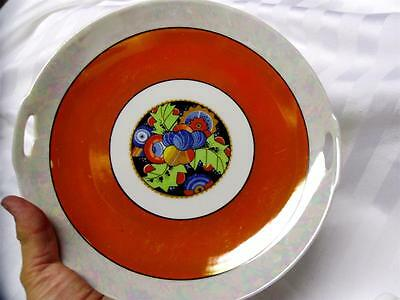 VINTAGE Hand Painted ART DECO DESIGN Art Pottery PLATE Pearlescent Glaze GERMANY