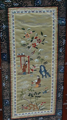 EARLY 20c CHINESE SILK GOLD STITCHES EMBROIDERY OF 2 YOUNG GIRLS ON LAND,FRAMED