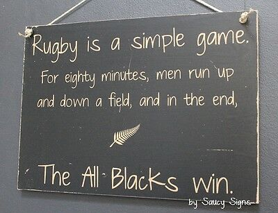 Simple Game Rugby Sign Silver Fern All Blacks Kiwi New Zealand Football Sign