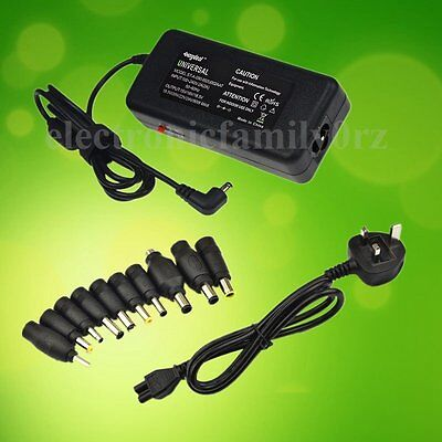 15V-24V Laptop AC Adapter Power Supply Universal Charger 10 tips + UK Lead/Cord