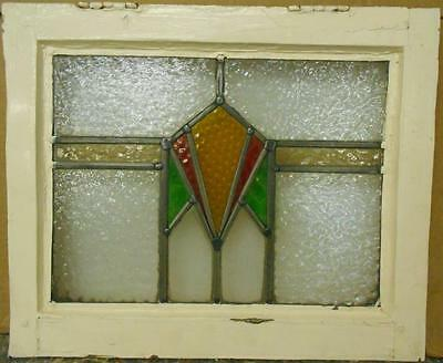 "OLD ENGLISH LEADED STAINED GLASS WINDOW Nice Geometric Band Design 18.5"" x 15.5"""