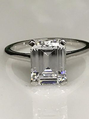 Emerald Cut Solitaire Engagement Ring 2.75ct . Solid 14K White Gold #4458