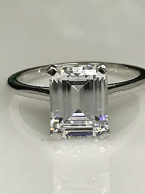 Emerald Cut Solitaire Engagement Ring 3.00ct . Solid 14K White Gold #4458