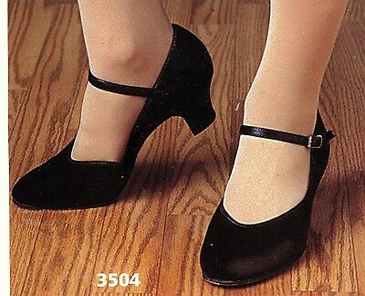 "NEW/BOX Character Shoes ch/ladies BLK #3504 Leathersole 1.5"" heel Musicaltheater"