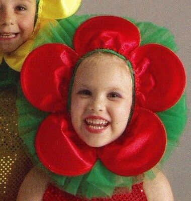 NWOT Flower Headpiece Child's Dance Petal Face Green Red Ballet Theatrical posy