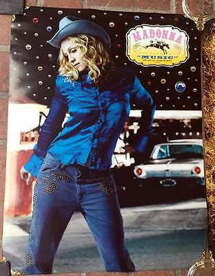 MADONNA Music Two-Sided 18x24 Poster Western Cowboy Wear Near MINT Promo