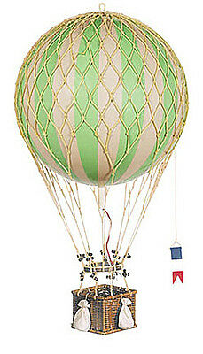 "Hot Air Balloon Model Green & White Striped 13"" Hanging Aviation Decor"