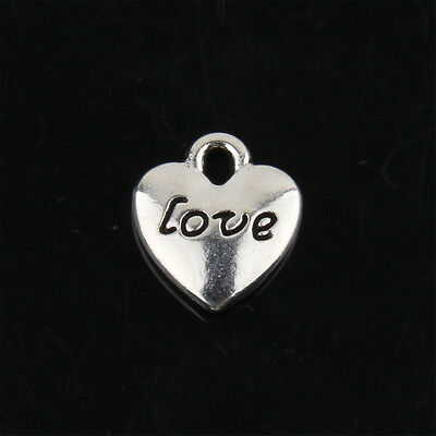 """60pcs Tibetan Silver """"LOVE"""" Heart Charms Pendant for Jewelry Making 11mm ABF56"""