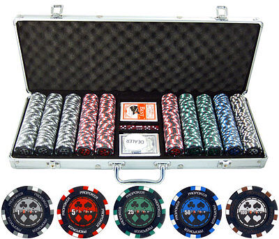 500pc Pro Poker 13.5g Clay Composite Poker Chip Set with Aluminum Carrying Case