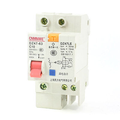 6KA Breaking Capacity One Pole Residual Current Circuit Breaker 230/400VAC 10A