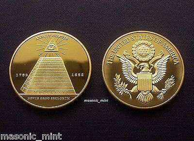 1oz GOLD PLATED MASONIC MEDALLION COIN - ALL-SEEING EYE / PYRAMID / REGALIA GIFT