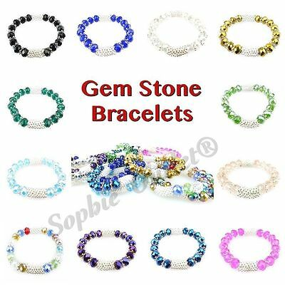 New Gem Stone Ladies Bracelet Girls Bangle Diamante Shambala Diamond Wrist Band