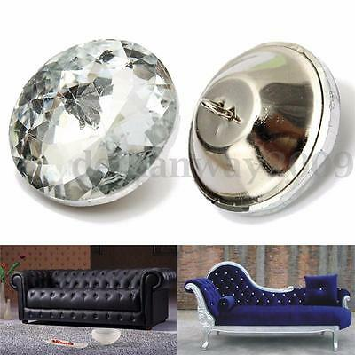 5/10/50x 30mm Diamond/Crystal Clear Upholstery Buttons Rhinestone Button Round