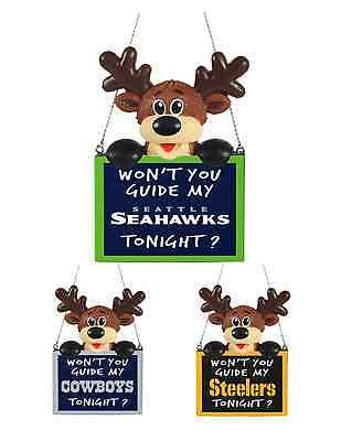 NFL Football Christmas Tree Ornament - Reindeer With Sign - Pick Your Team!