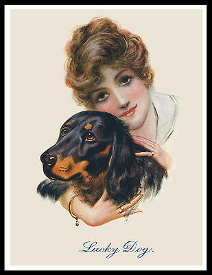 Gordon Setter Pretty Lady And Dog Great Vintage Style Dog Print Poster