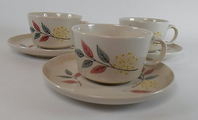 FRANCISCAN china SPRINGSONG pattern Set of Three (3) Cups & Saucers