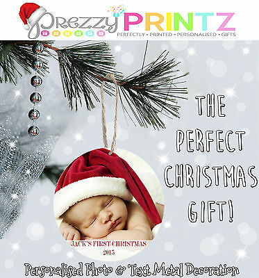 Personalised Any Photo Metal Christmas Tree Decoration Bauble Gift Baby Newborn