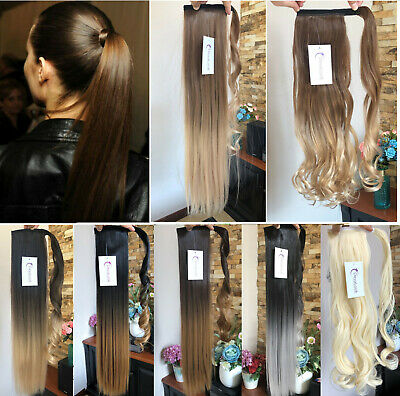 """Dip Dye Ombre Wrap Around Ponytail Clip in Hair Extensions 20"""" 22"""" Two tones UK"""